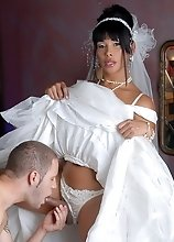 Horny bride Vaniity getting fucked in a wedding dress