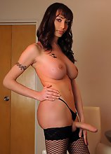 A Sexy Latina Tranny in Stockings and Lingerie