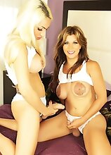 Two Big Tits Trannies Naomi Chi & Angeles Cid in Lesbian Action