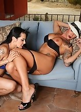 Foxxy taking Danni's huge dick